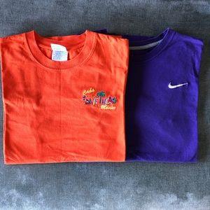 2 T-SHIRTS SET NIKE purple orange cotton men's